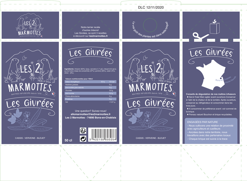 Planche d'impression avec lignes de découpe et de pliage du packaging des boissons dérivées des infusions Les 2 marmottes.