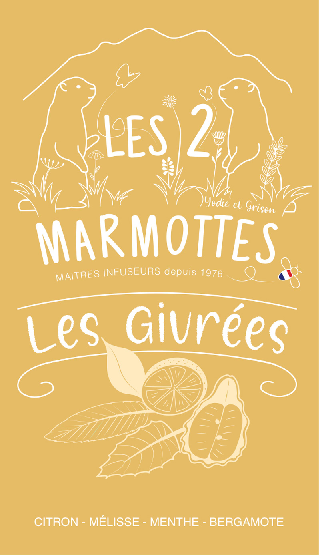 Illustration du packaging pour une boisson dérivée des infusions Les 2 marmottes, citron bergamote.