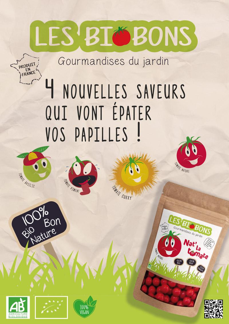PEGGY graphiste, Affiche publicitaire de bonbons bio aux tomates cerises