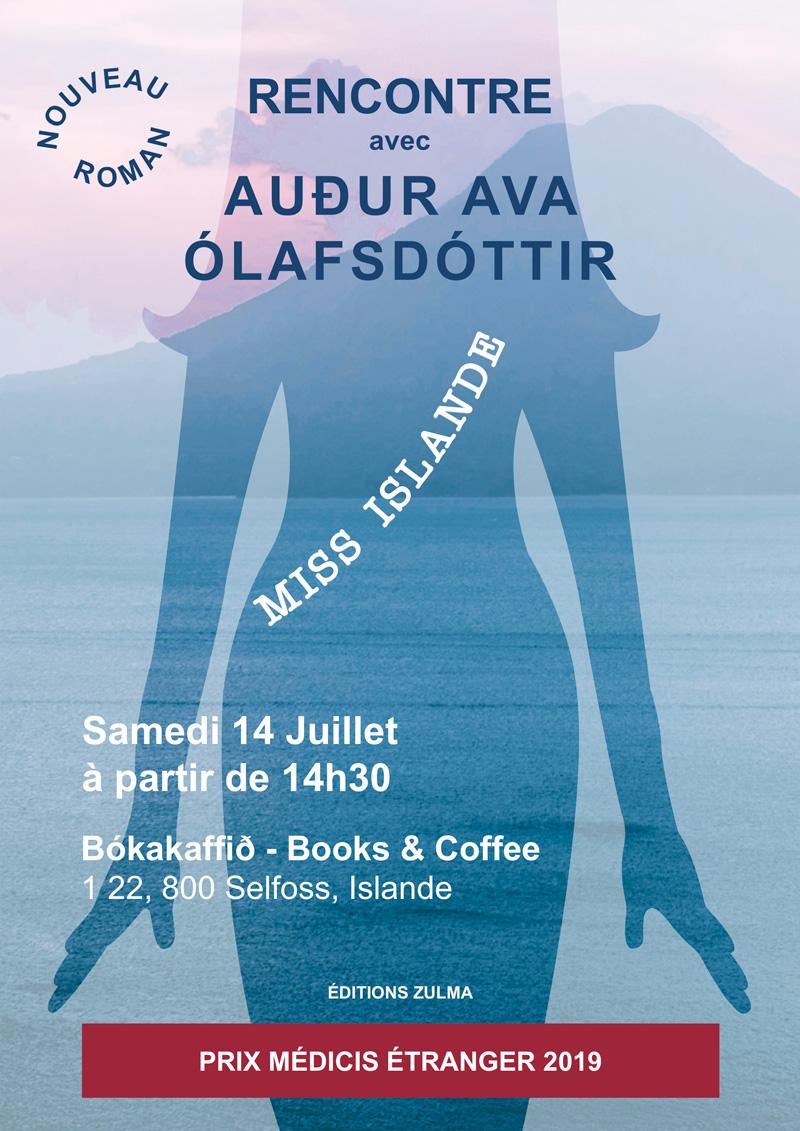 Livre Miss Islande. Affiche annonçant la rencontre de l'auteur par Peggy Verdillon, studio graphique. Silhouette en transparence sur une ile volcanique.