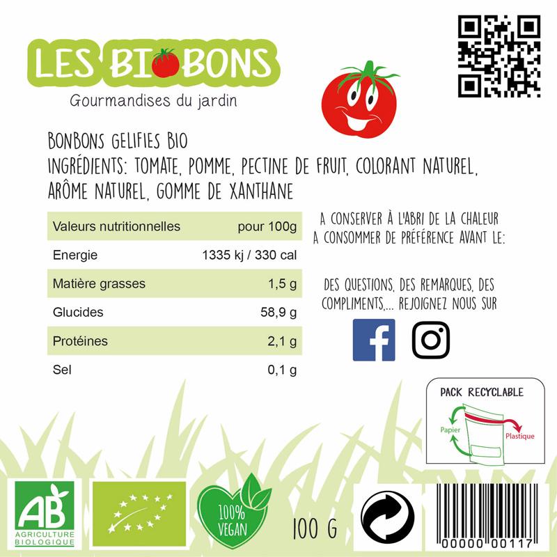Etiquette verso d'une marque fictive de bonbons à la tomate cerise, les biobons créée par Peggy Verdillon graphiste multimédia.