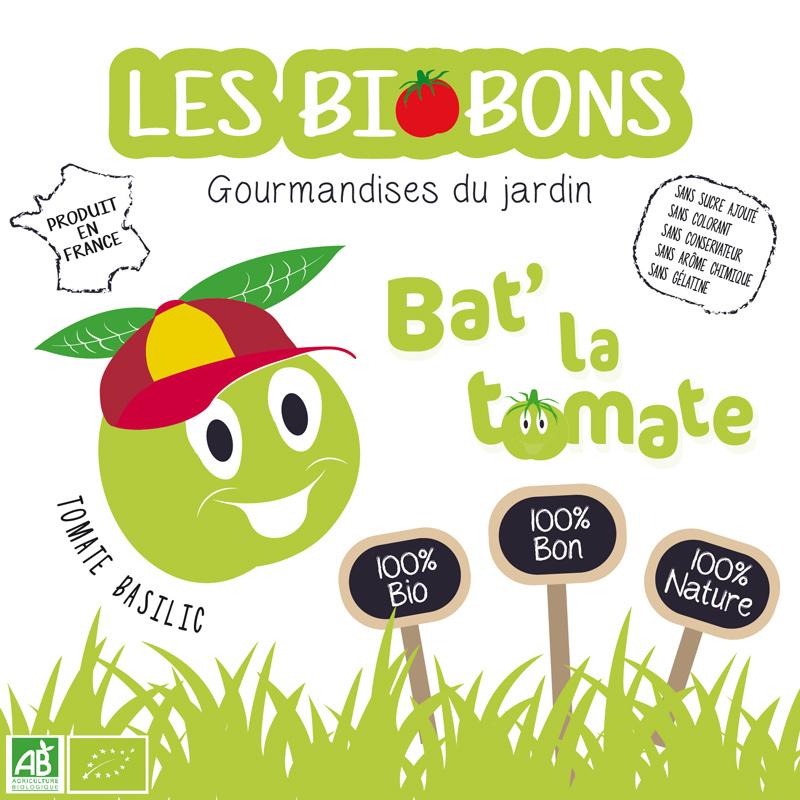 Etiquette recto d'une marque fictive de bonbons à la tomate cerise & basilic, les biobons créée par Peggy Verdillon graphiste multimédia.