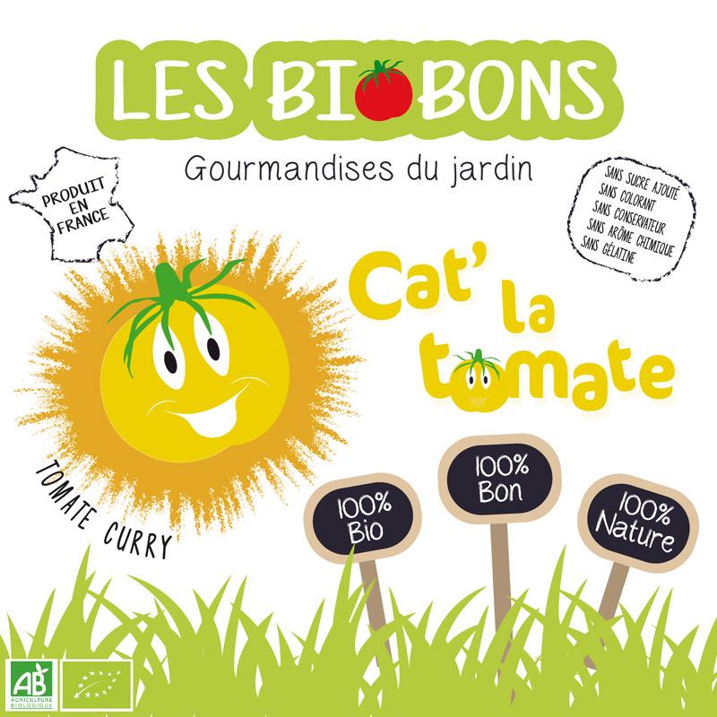 Etiquette recto d'une marque fictive de bonbons à la tomate cerise & curry, les biobons créée par Peggy Verdillon graphiste multimédia.