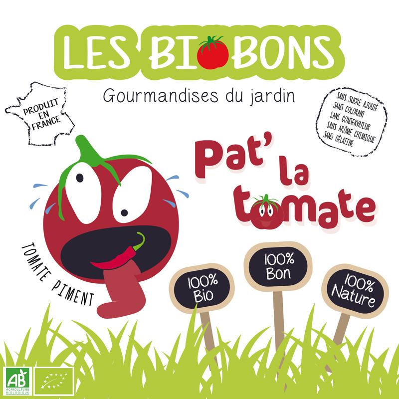 Etiquette recto d'une marque fictive de bonbons à la tomate cerise & piment, les biobons créée par Peggy Verdillon graphiste multimédia.
