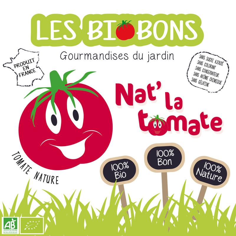 Etiquette recto d'une marque fictive de bonbons à la tomate cerise, les biobons créée par Peggy Verdillon graphiste multimédia.