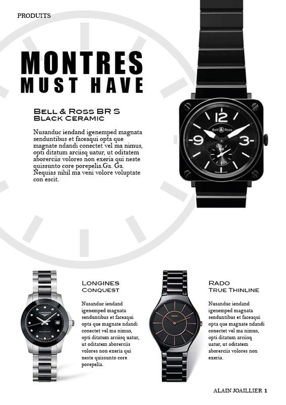 PEGGY, graphiste, Page de catalogue de montres haut de gamme.