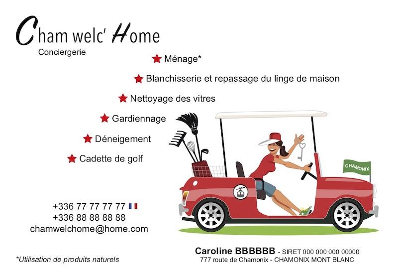 Carte postale Illustration pour une conciergerie à Chamonix Mont Blanc. Design fifties, femme dans une mini cooper, voiturette de golf.