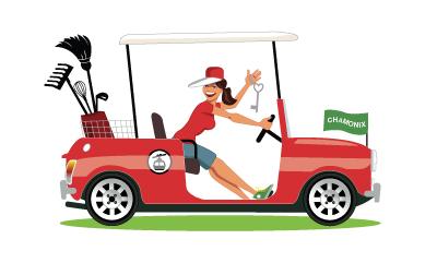 Illustration pour une conciergerie à Chamonix Mont Blanc. Design fifties, femme dans une mini cooper, voiturette de golf.