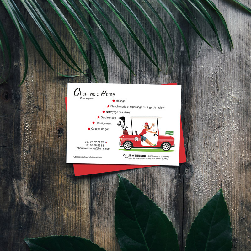 PEGGY, graphiste, Carte de visite, carte postale de la conciergerie Cham' Welc'Home à Chamonix.