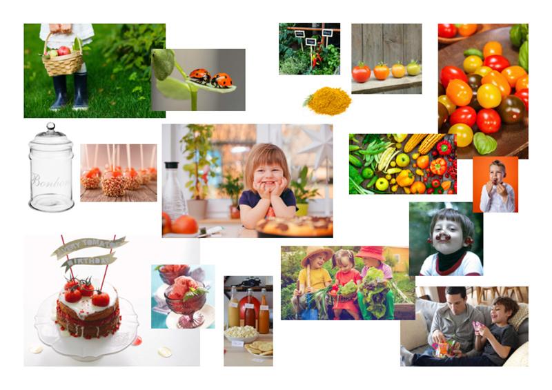 Moodboard de la marque fictive les Biobons, bonbon à la tomate cerise, créé par Peggy Verdillon designer graphique.