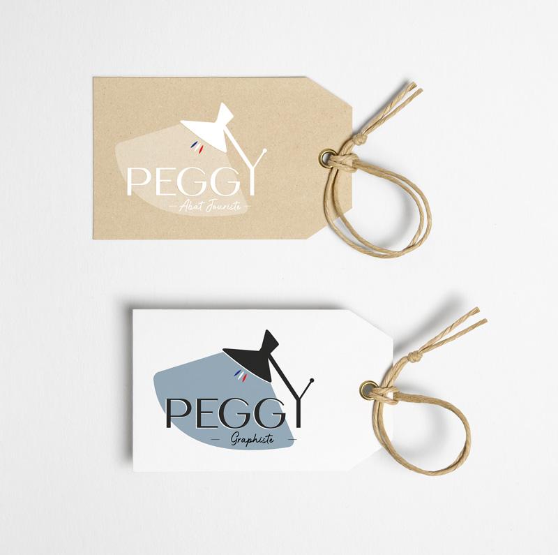 Etiquettes des logo PEGGY abat jouriste & graphiste.
