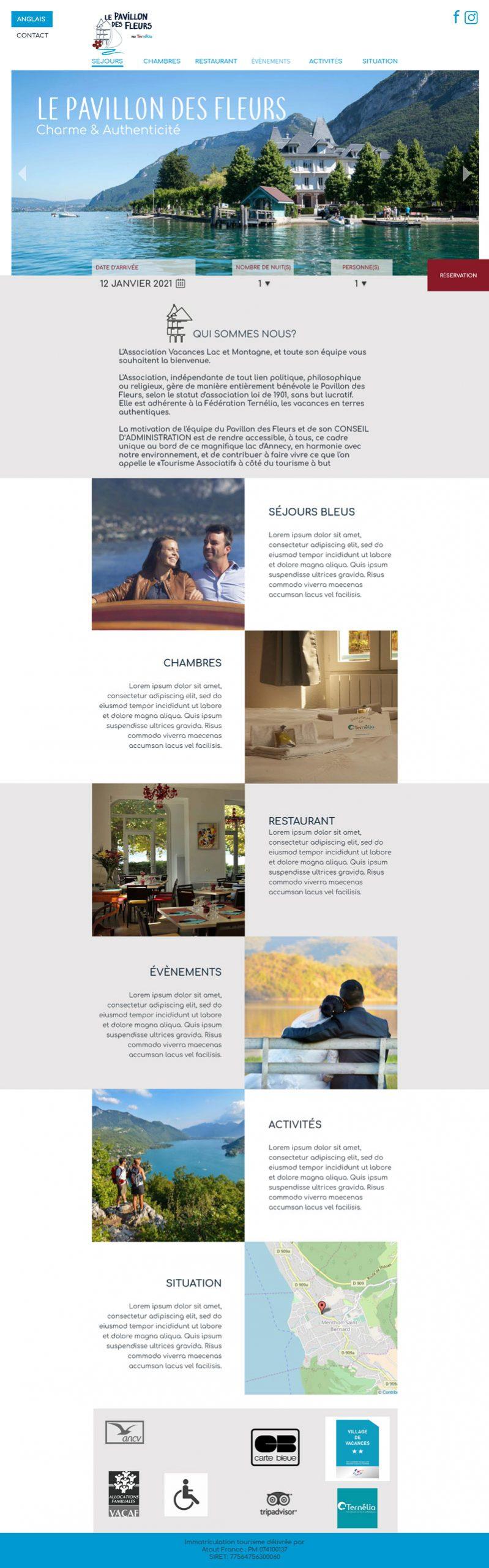Maquette du site web le pavillon des fleurs, hôtel situé au bord du lac d'Annecy.