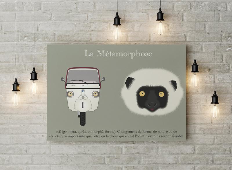 Piaggio APE Calessino vs lémurien : graphic contest réalisé par PEGGY graphiste sur le thème de la Métamorphose.