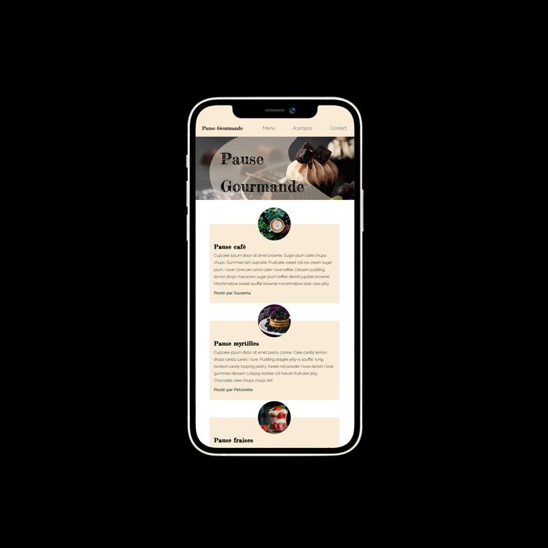 Responsive sur téléphone mobile d'un Site web pause gourmande réalisé en HTML - CSS