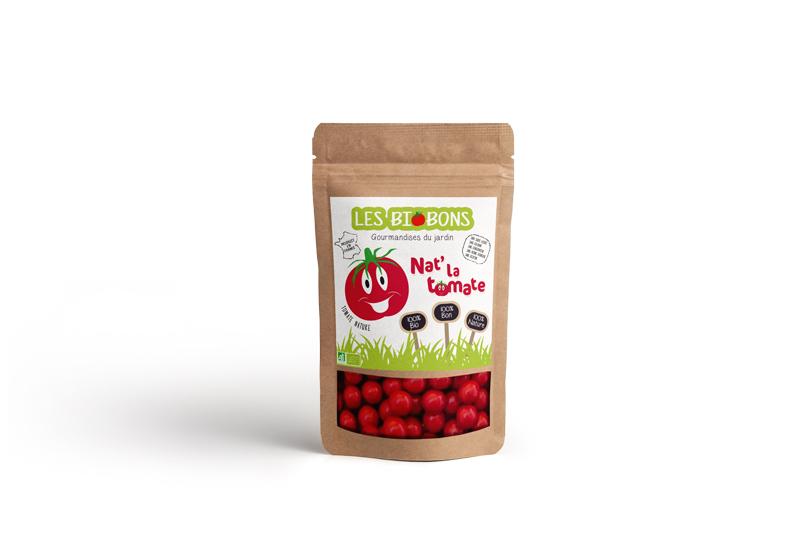 Packaging recto d'une marque fictive de bonbons à la tomate cerise, les biobons créée par Peggy Verdillon graphiste multimédia.