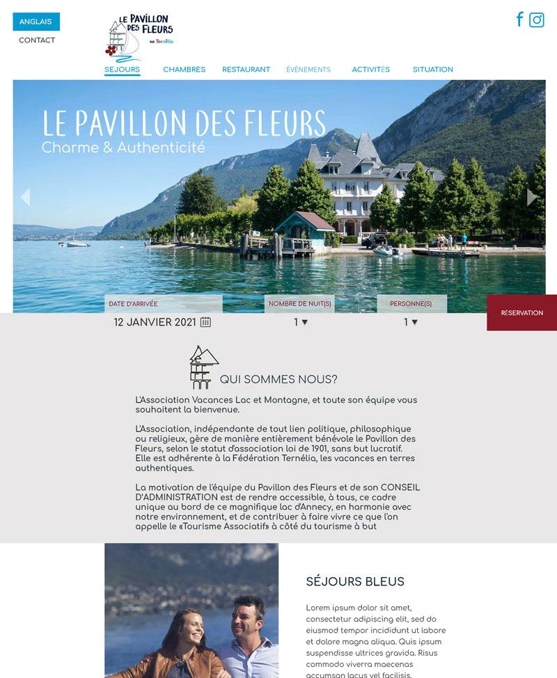 Maquette de l'entête du site web le pavillon des fleurs, hôtel situé au bord du lac d'Annecy.