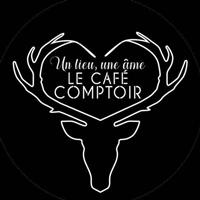 Logo du café comptoir à Vallorcine, tête de cerf blanche et noire