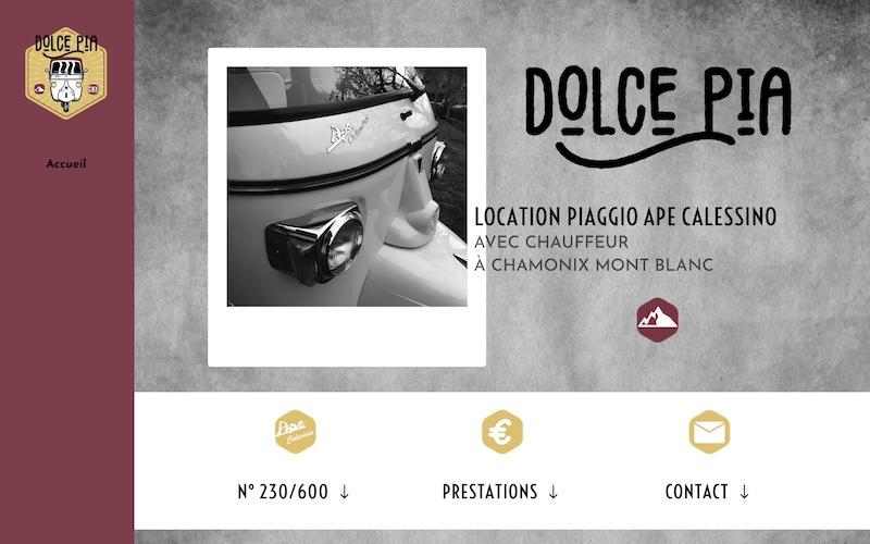 Page d'accueil du site web de location d'un piaggio app calessino