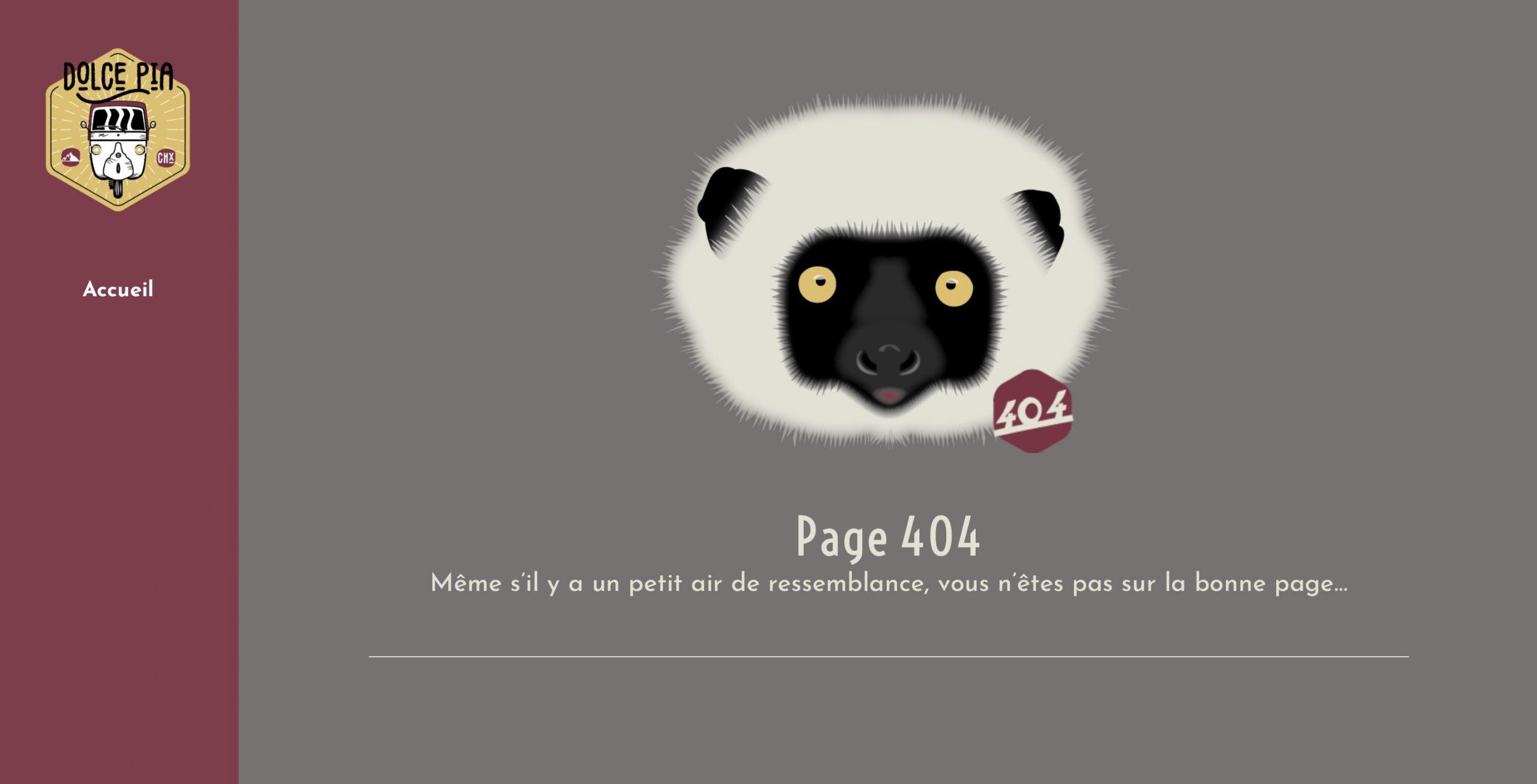 Page 404 du site web de location d'un piaggio app calessino